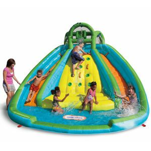 Rocky Mountain River Race from #littletikes Kids can climb up the middle and pick a slide to come down and splash into the wading pool.