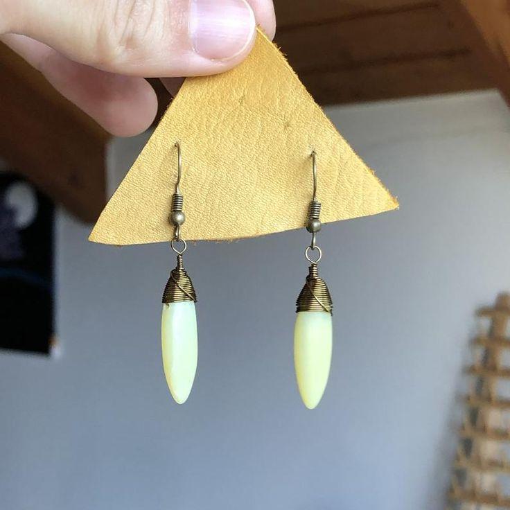 Flourite Amazonite Stones Handmade Earrings Lightweight OOAK Hypoallergenic Hammered Brass Gemstone Dangle Earrings Celestial Jewelry