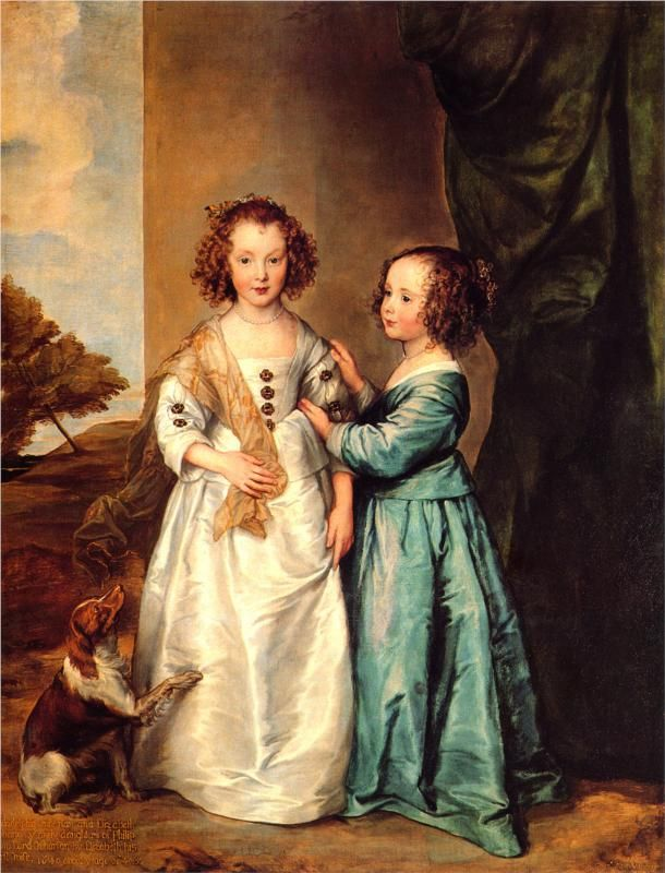 (Earlier than Georgian, but so pretty) Anthony van Dyck, Portrait of Philadelphia and Elisabeth Cary, 1635