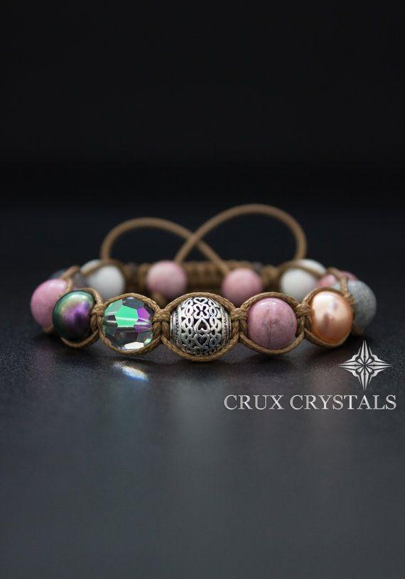 Tulpe Rhodonit Edelstein Perlen Armband Womens von CruxCrystals