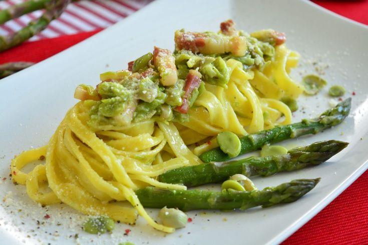 Pasta asparagi e fave con pancetta