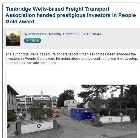 The Freight Transport Association gets prestigious IIP Gold award