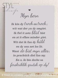 Dit Friese tekstbord heeft de Fryske tekst 'Myn bern..'  © Tekst en ontwerp…