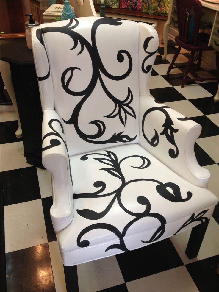 Hand painted vinyl chair.