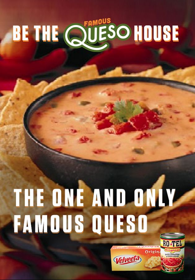 How to make a game changing dip? The One and Only Famous Queso has got you covered with the cheesy goodness of VELVEETA and the one-two kick of RO*TEL's diced tomatoes and spicy green chilies. Get the full recipe at www.quesoforall.com