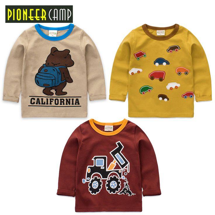 Pioneer camp anak 3 pcs/lot baru musim semi musim gugur anak t-shirt katun lengan panjang kartun knit tops bayi laki-laki perempuan pakaian