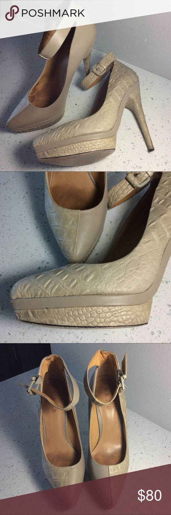 """L.A.M.B sheepskin ankle strap detail heels ❤️💋❤️ Beautiful shoes, color neutral/ nude with sheepskin texture mixed with plain ,  Rey soft inside and comfortable , size 10, adjustable ankle strap , heels 5"""" high (Heels need clean) still in great good condition, has wear on the bottom soles and light wear inside L.A.M.B. Shoes Heels"""