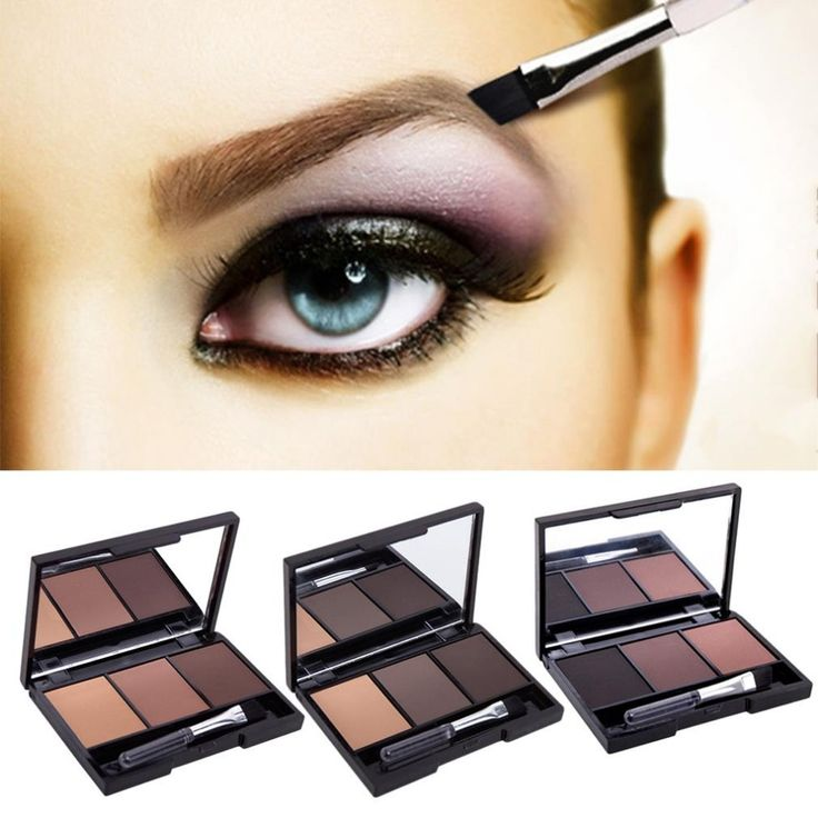 3 Kleur Wenkbrauw Poeder Palet Cosmetische Brand Eye Brow Enhancer Professionele Waterdichte Make Oogschaduw Met Borstel Spiegel Doos