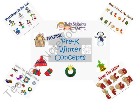 Freebie! Winter Themed Pre-K Concepts product from Twin-Sisters-Speech on TeachersNotebook.com