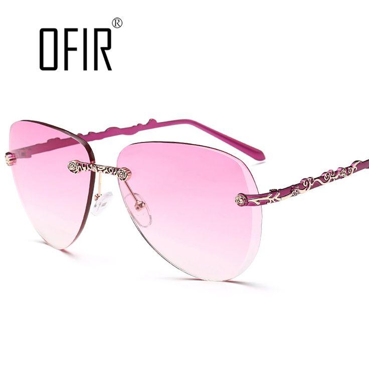New Fashion Sunglasses Women Brand Design Rimless Sunglasses Summer Cool Glasses oculos de madeira UV400 Eyewear Steampunk SL-43