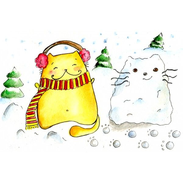 Snow cat - Postcards, Christmas and New Year