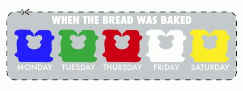 Ever wonder what the colors of the tie tags on loaves of bread represent? They're a code designating the day of the week on which a loaf was baked:    * Blue: Monday  * Green: Tuesday  * Red: Thursday  * White: Friday  * Yellow: Saturday[...]    An easy way to remember it, though, is to simply recall the alphabet. The colors run in alphabetical order, so the earlier they appear in the alphabet, the earlier in the week the bread was baked.