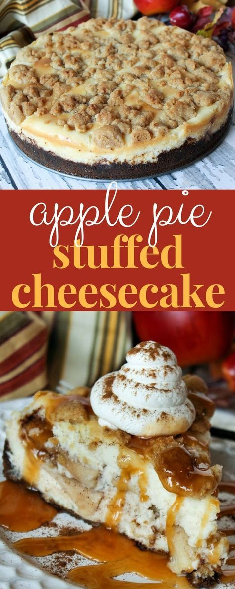 Apple Pie Stuffed Cheesecake is the ultimate fall dessert! #cheesecakerecipe