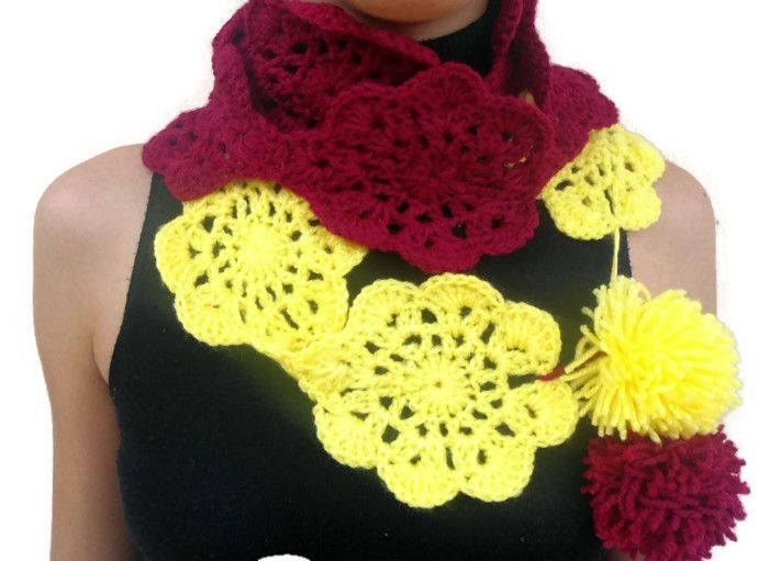 Hand crocheted soft and chunky scarf with flowers