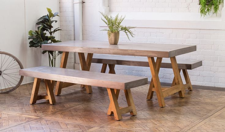 Harta Concrete Teak Dining Table Benches Suitable For Interior Exterior Use Shop Schots Furniture Collection In Concrete Interiors Teak Dining Table