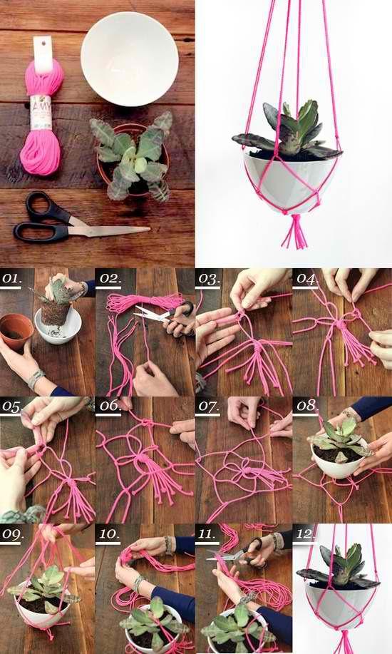 DIY Neon plant hanger  #HomeandGarden