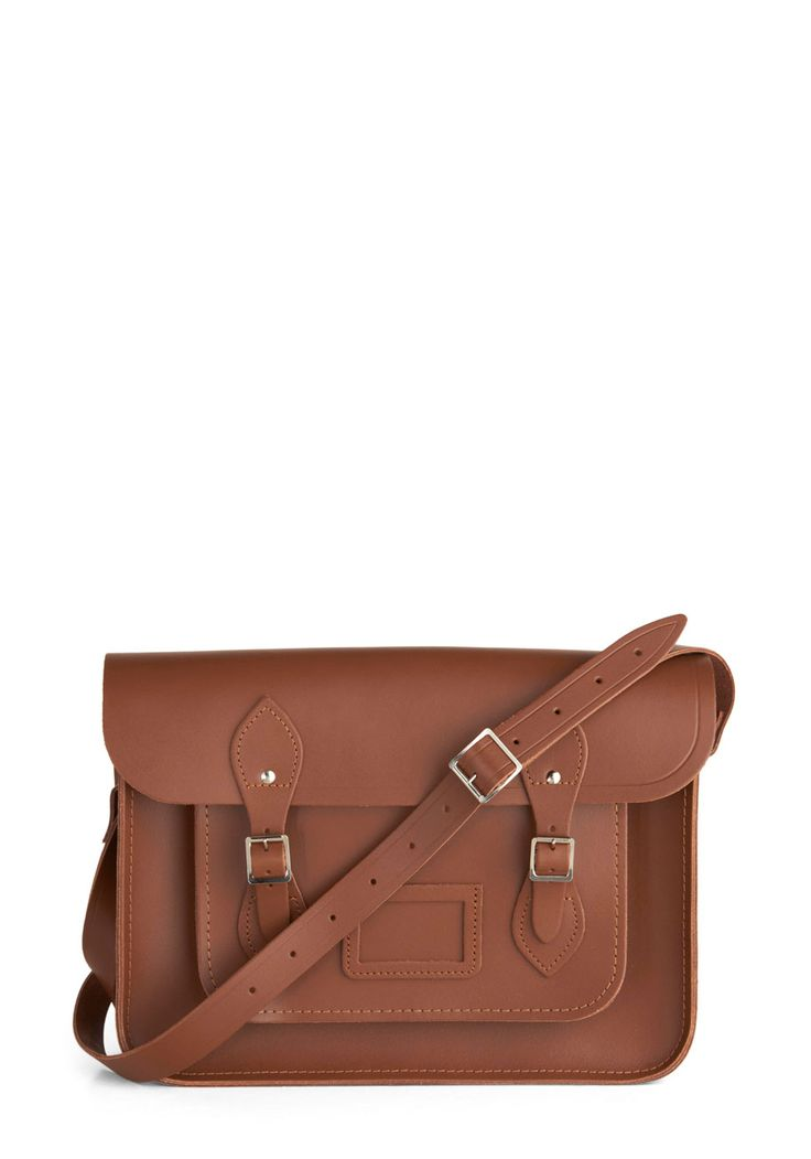 Cambridge Satchel Upwardly Mobile Satchel in Brown - 14 inch. This ultra rich, milk chocolate-colored satchel, designed by The Cambridge Satchel Company in the UK,is absolutely saturated with style. #brown #modcloth