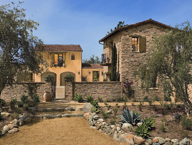 Rustic italian stone facade and wall facades pinterest Rustic tuscan house plans