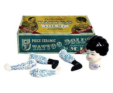 Bambola tattoo lady in 5 pezzi in ceramica bianco/multicolor
