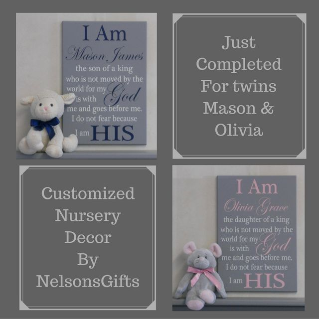 """Sign: """"I Am (PERSONALIZED WITH NAME) the son or daughter  of a king who is not moved by the world for my God is with me and goes before me. I do not fear because I am HIS"""" Custom painted by NelsonsGifts"""