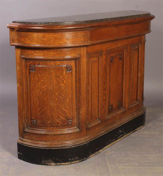 vintage carved oak bar counter