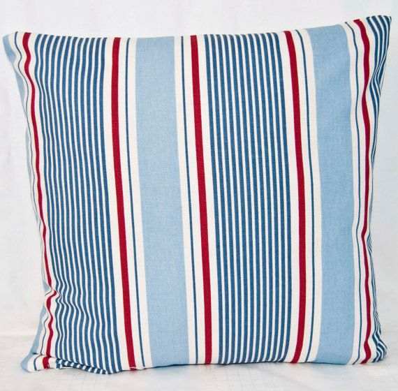 Red White Blue Throw Pillow Cushion Cover in by GreenCallow, £19.86