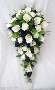 BRIDES CALA LILY  ROSE TEARDROP BOUQUET IN IVORY AND DARK BLUE, WEDDING FLOWERS  LOVE THIS!!!!!!!!!  Maybe not quite so big tho