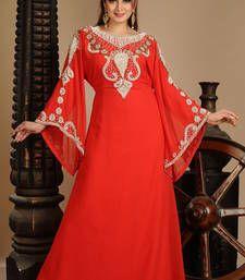 Buy Red arabian islamic jalabiya crystal-abaya online
