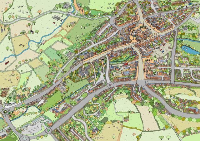 Hand drawn bird's eye view map of Elton Village in Derbyshire Peak District