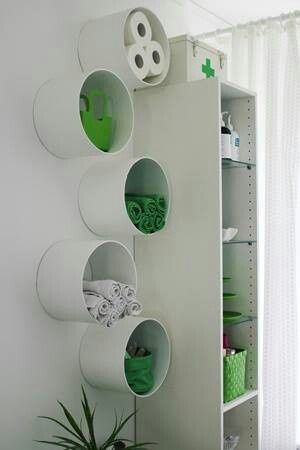 ** IDEA**   For the Kid's bathroom- use the BIG cookie tins > paint or cover with something that will not sweat off or mildew from steam.