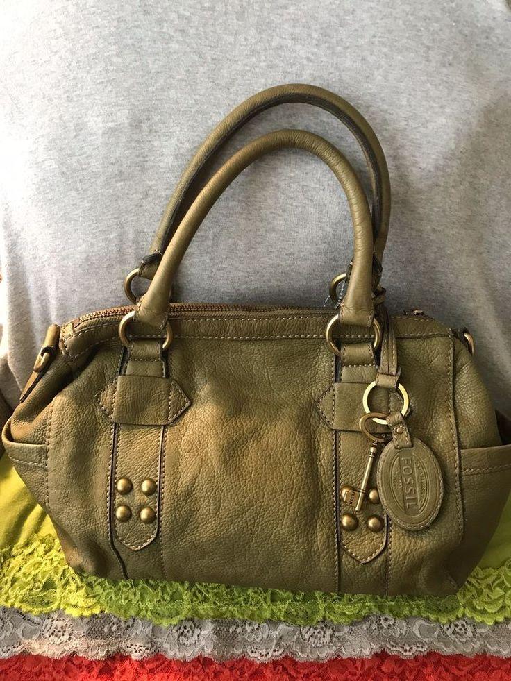 NEW Handbag Fossil Grayson Olive Green Leather Purse Hobo Tote Zip Top Satchel freeship buy now @eBay Sale $41.76 freeship