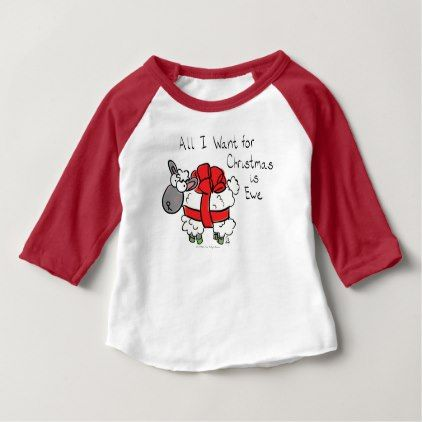 All I Want for Christmas is Ewe Sheep Cartoon Baby Baby T-Shirt - newborn baby gift idea diy cyo personalize family