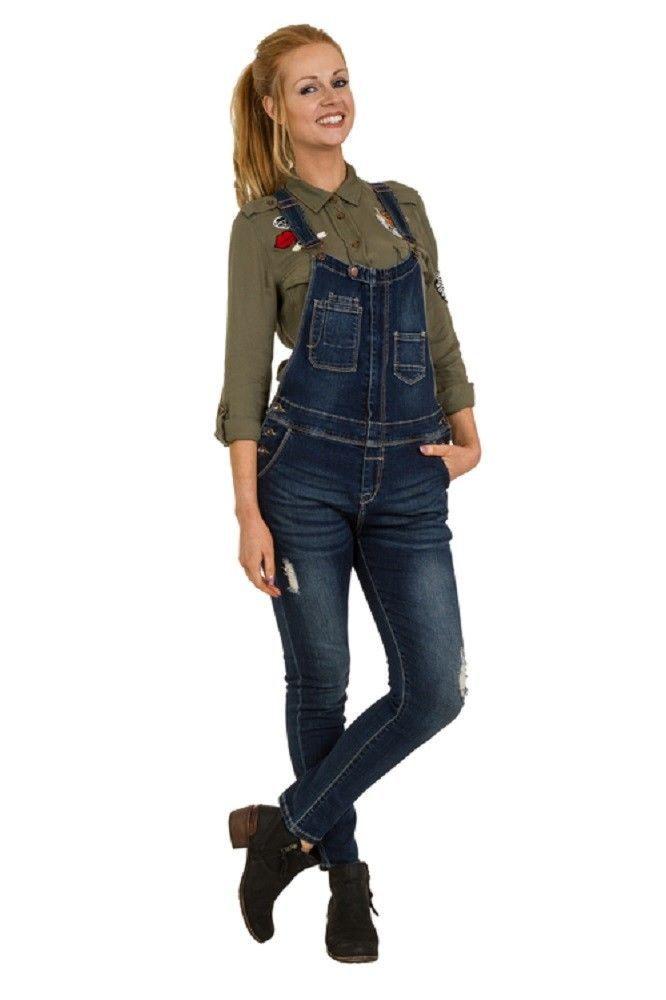 Zip Front Denim Bib Overalls - Slim Fit Ladies Dungarees Abrasion Detail