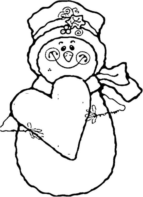 Heart And Snowman Coloring Pages To Print - Winter Coloring pages ...