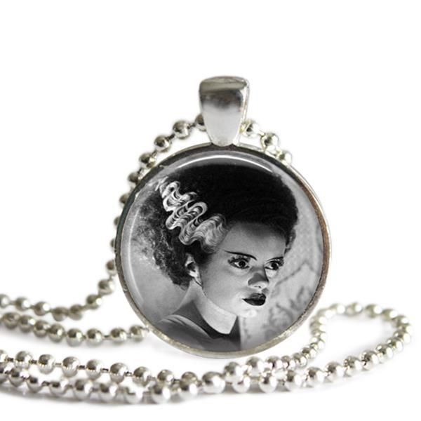 Bride of Frankenstein Silver Plated Picture Pendant Classic Horror Film Necklace