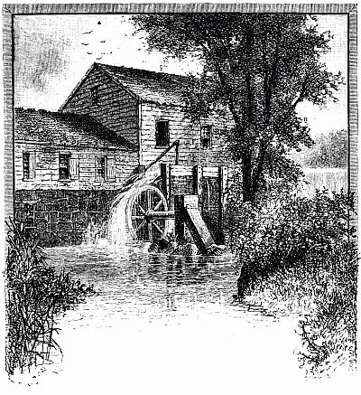 Mill And Waterwheel Image A Vintage Drawing Of An Old
