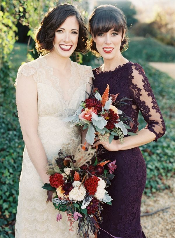 35 dark purple wedding color ideas for fall winter for Winter wedding colors for bridesmaids dresses