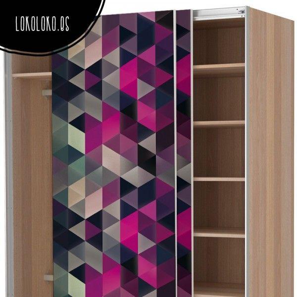 Vinilo geométrico de triángulos fuxia para forrar armarios de dormitorio
