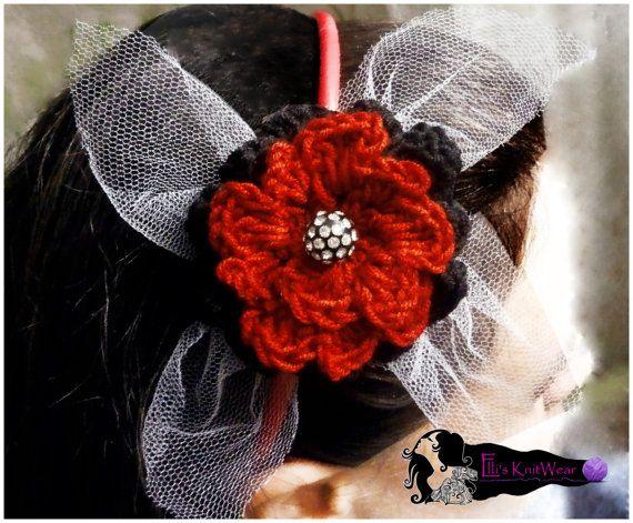 Red & Black Flower Headband by EllisKnitwearShop on Etsy
