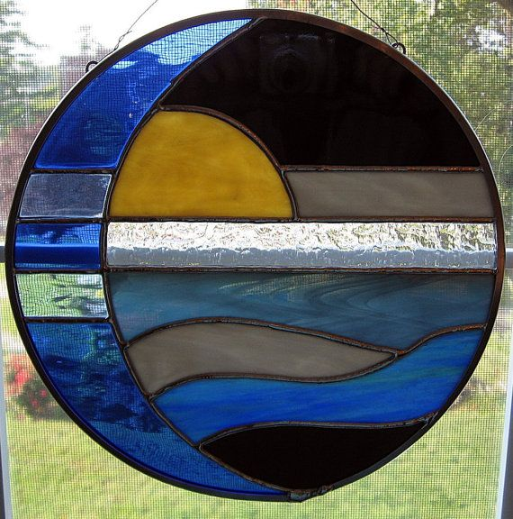 Moon and Sun Over Water Round Stained Glass Panel / Suncatcher
