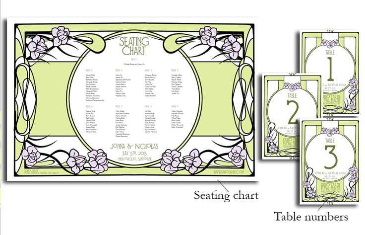 Here you may see a few samples of custom-made seating charts, table numbers, placeholders and menus for wedding receptions. The style and the layout is made according to the overall decoration of the wedding and it's previously approved by the couple.