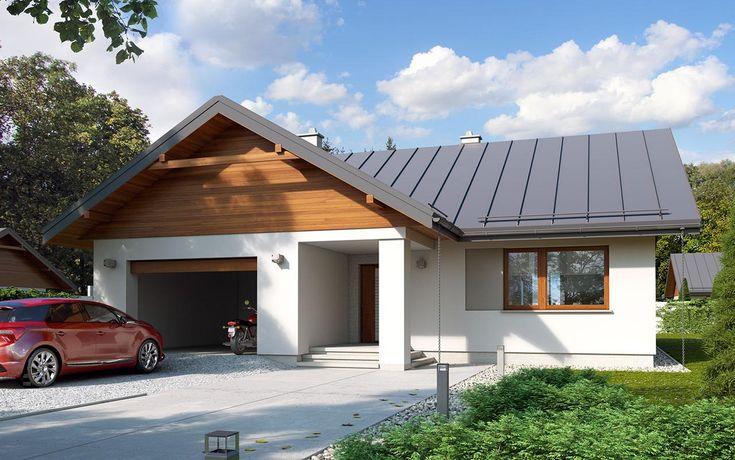 #projekt #dom #drewniany #jednorodzinny #parterowy #trzypokojowy #garaż #nowoczesna #elewacja