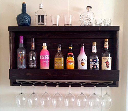 Wine Rack - Liquor Cabinet - Shown in Dark Brown Espresso Finish - Shown with Blue LED Recessed Lights