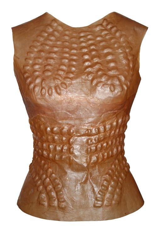 "Suzanne Lee, BioCouture - "" The bodice was constructed by applying a pattern of dried beans to a wooden body form and allowing the wet cellulose material to dry down onto it. It took about a week before it could be lifted off. I then sewed in a conventional zip fastening (as yet there is no biodegradable alternative)."""
