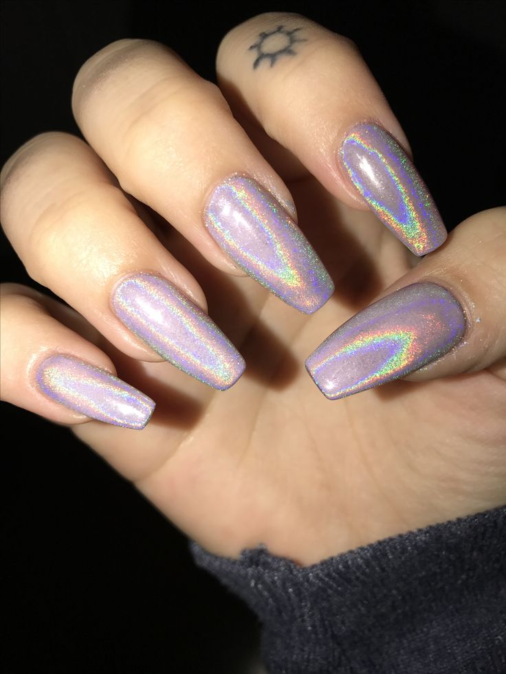 holographic tapered square nails.  i am in love. CND cake pop with holo glitter on top