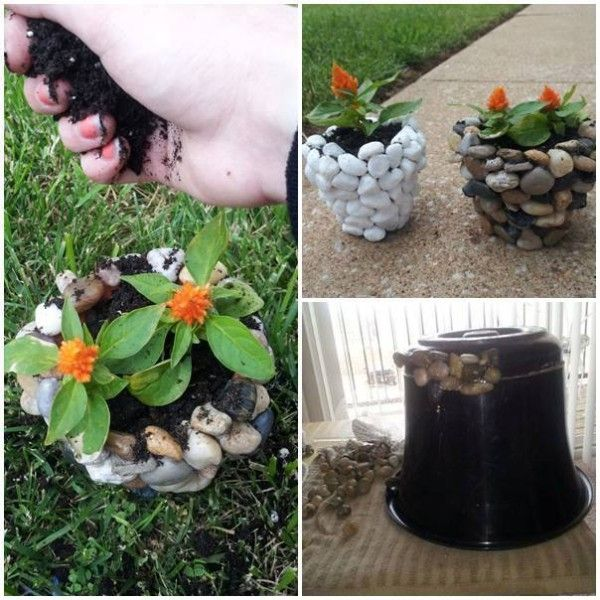 DIY Planter Using River Stones - Find Fun Art Projects to Do at Home and Arts and Crafts Ideas