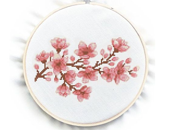 Cherry Blossom Cross Stitch Chart Pattern PDF instant by GreatHome, $3.00