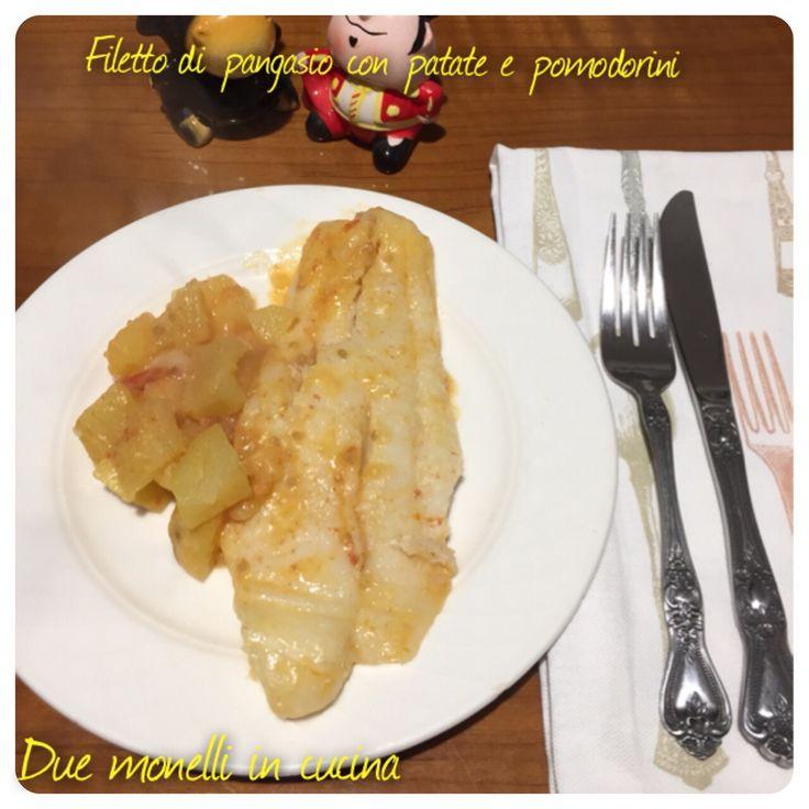 Filetto di pangasio con patate e pomodorini