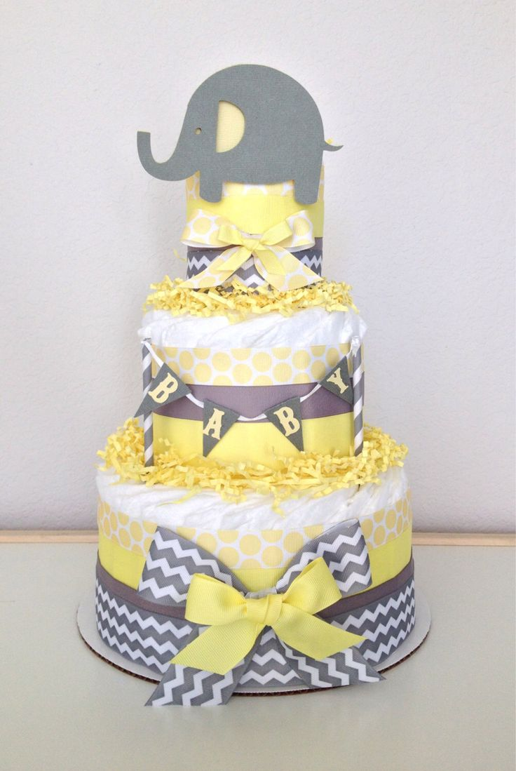 Chevron Gray and Yellow Lil' Peanut Elephant Diaper Cake Baby Shower Centerpiece by PoshPartyCompany on Etsy https://www.etsy.com/listing/203390808/chevron-gray-and-yellow-lil-peanut