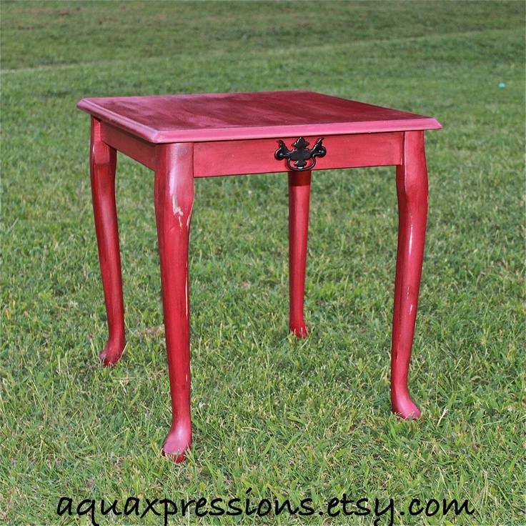 Red Side Tables /End Tables /Nightstand/ Living Room /Bedroom Furniture  /Shabby